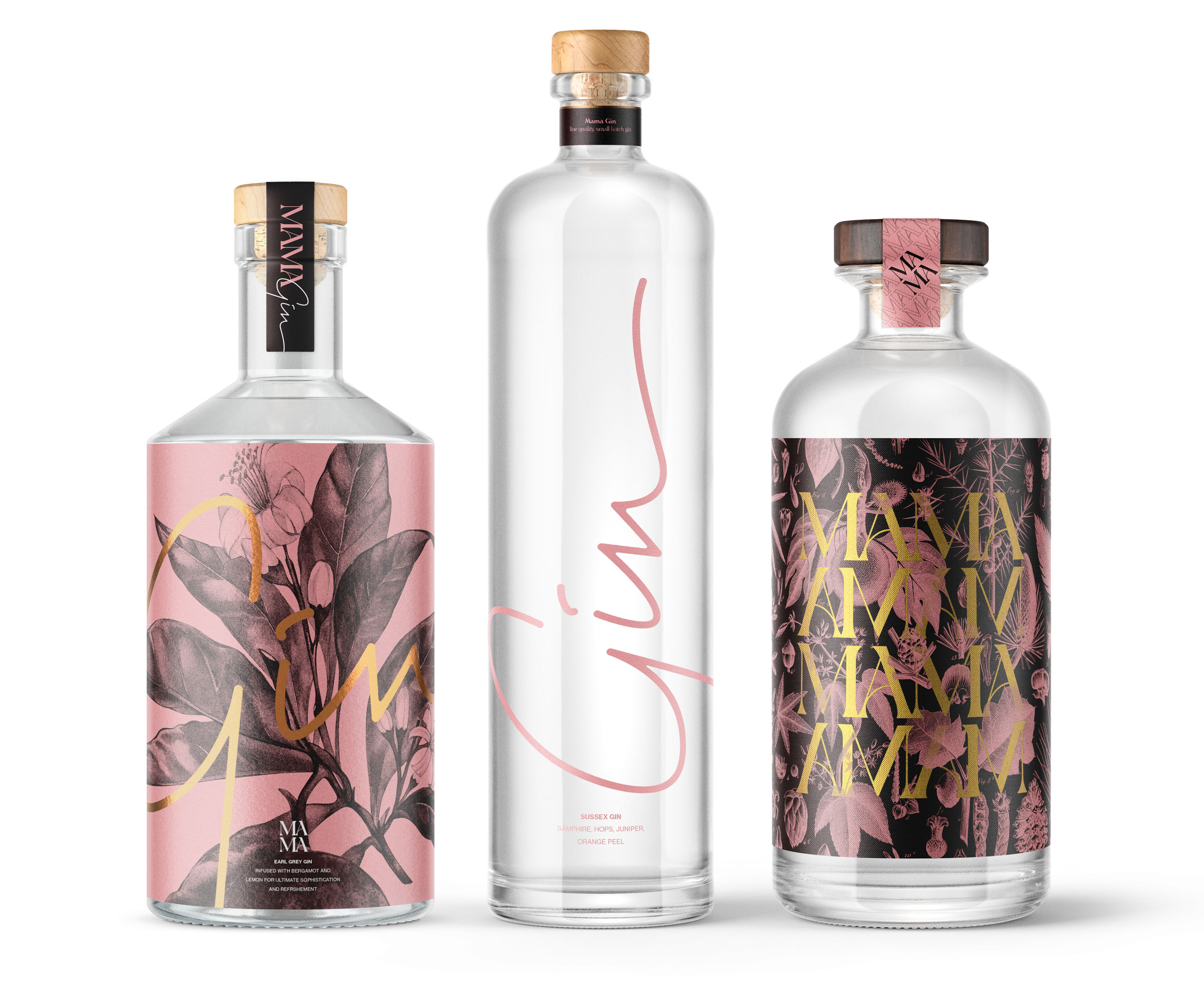 Mama Gin bottle packaging