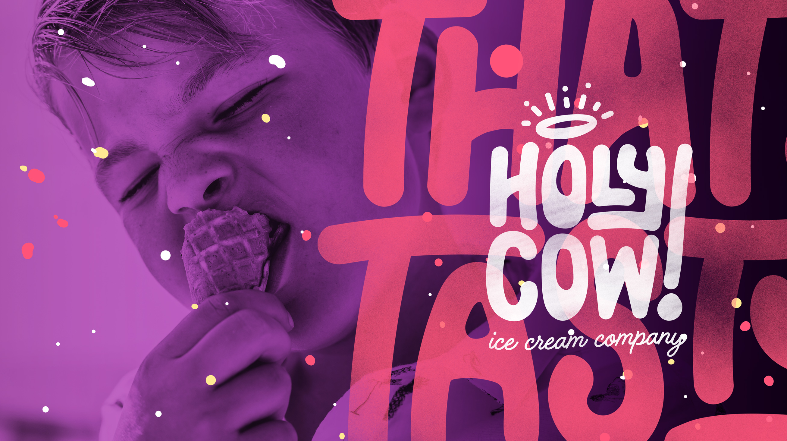 That's Tasty! Holy Cow brand design typography visualisation.