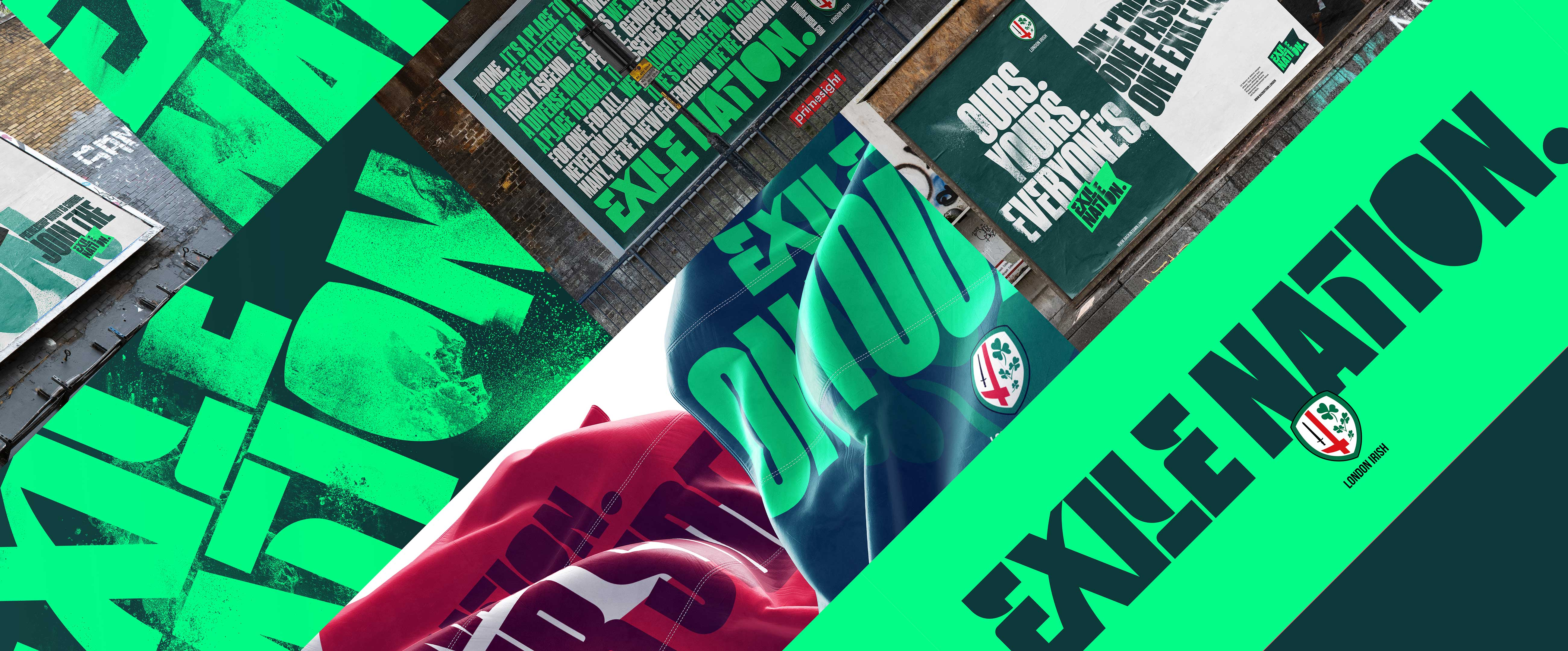 Brand identity design for London Irish Exile Nation campaign by UnitedUs Brighton